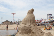 Sand Sculpting on Coney Island, Brooklyn
